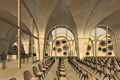 Bamiyan Cultural Centre Die Performance Hall Veranstaltungshalle für Theater Musik und Versammlungen. Die Veranstaltungshalle öffnet sich zum geschützten Innenhof.