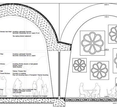 Schnitt Konstruktion 1:20 Dämmbeton und Paksha bilden die Gewölbestruktur.