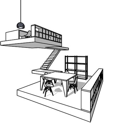 Innenarchitektur Umbau Neugestaltung Büro mit Besprechungsraum und grossem modernen Sitzungstisch. Eames Stühle und Retro 70er Jahre Sessel und Leuchten. Schwarze Regale und schwarzes Sideboard.