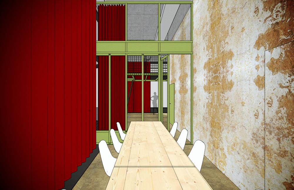 Jacky's im Glattpark, Bar, Restaurant und Café. Flexibles Raumkonzept in L-förmigem, schmalen und hohen Raum. Der Ausbau erfolgt ab Rohbau. Visualisierung Salon für kleine Gesellschaften, Faltwand geschlossen. Blick zur Plattform mit Bar-Bereich. Die Trennwand ist aus Stahl und Glas, in Resedagrün lackiert. nijo architekten Zürich, Nina und Johannes Wick