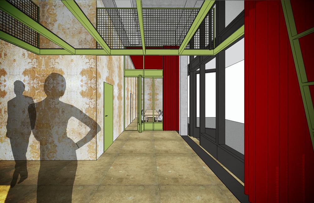 Jacky's im Glattpark, ein maximal flexibles Bar-Konzept. Visualisierung Bar- und Eingangsbereich mit Blick zum Salon für kleine Gesellschaften. Dieser Salon kann via Faltwand und Vorhang komplett verschlossen oder komplett geöffnet werden, je nach Bedarf. Über dem Bar-Bereich befindet sich eine Plattform für technische Installationen wie Licht, Sound, Beamer etc. Die neuen Einbauten sind aus Stahl und Glas gefertigt und in Reseda-Grün lackiert. nijo architekten Zürich, Nina und Johannes Wick
