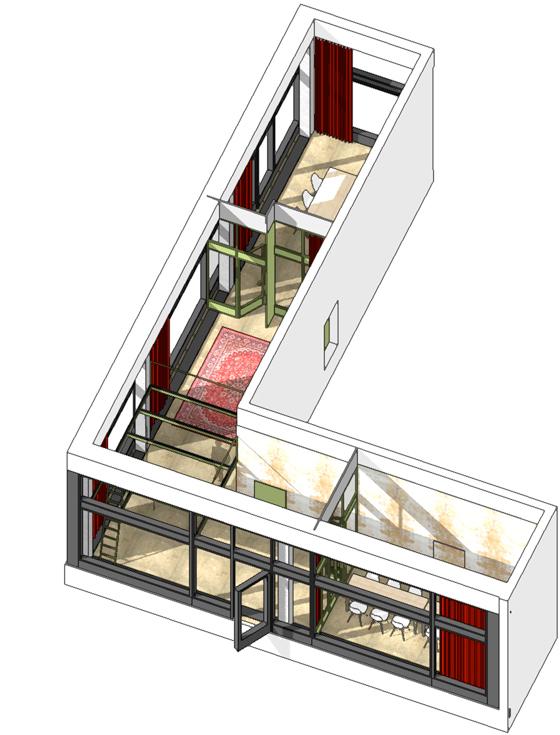 Jacky's im Glattpark, ein maximal flexibles Bar-Konzept. Isometrie des L-förmigen Raumes von oben. Vorne bei der geöffneten Türe ist der Eingangsbereich, hier ist auch der Hofdurchgang. Gegenüber befindet sich das bereits bestehende Café / Restaurant. In der vorderen Ecke befindet sich der Bar-Bereich mit Plattform für technische Installationen wie Licht, Sound, Beamer. Am Ende des längeren Flügels, welcher entlang dem Boulevard Lilienthal verläuft, ist das Fumoir angesiedelt. Am anderen Ende auf der Hofseite wird ein kleiner Salon entstehen, welcher via Faltwand und Vorhang komplett geöffnet oder geschlossen werden kann. Raumhohe rote Vorhänge dienen dem Sonnenschutz, der Akustik und der Raumunterteilung. nijo architekten Zürich, Nina und Johannes Wick