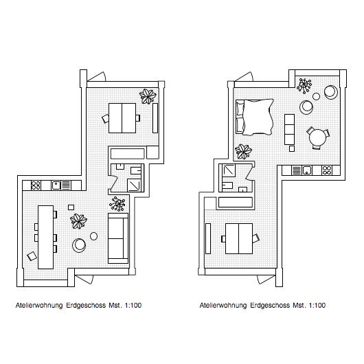 Grundrisse Wohnatelier. Die Ateliers eignen sich zum Arbeiten und Wohnen und sind sehr flexibel möblierbar.