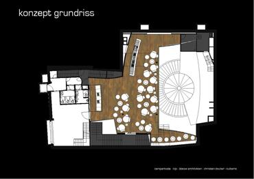 Plan Innenarchitektur Umbau Club und Disco Liquid Lounge. Möblierungskonzept mit neuer Bar und DJ Pult.