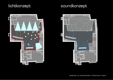 Umbau und Neugestaltung Innenarchitektur Liquid Club Lounge. Lichtkonzept und Soundkonzept Plan.