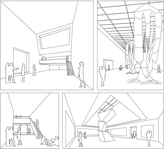 Skizzen Innenräume Ausstellungshallen mit indirektem Licht Kunstmuseum Maribor.