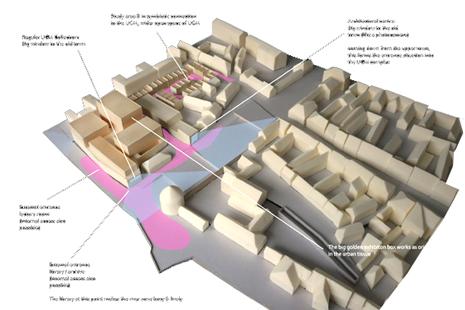 Modellfoto Kunstmuseum Maribor mit städtebaulicher Erweiterung.