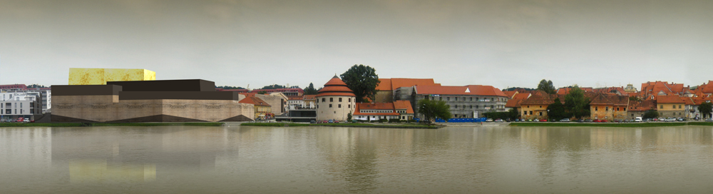 Das Kunstmuseum am Ufer der Drava. Rechts schliesst die Altstadt Maribors an.