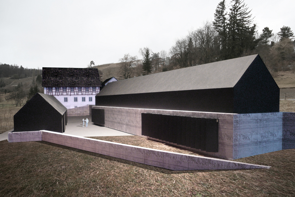 Modellfoto der Erweiterung. Die Werkhallen erscheinen als zwei Langhäuser in Fortsetzung der Terrain Höhenlinien und bilden einen geschützten Werkhof.