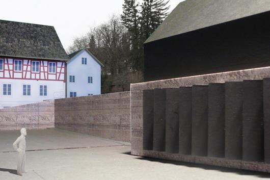 Modellfoto Werkhof mit soliden Stampfbeton-Mauern.