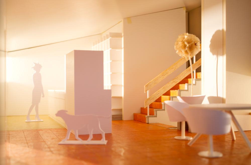 Modellfoto Innenraum mit neuer Küche und Essplatz.