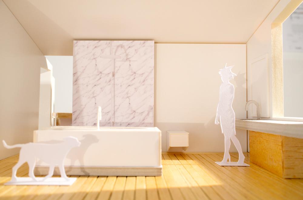 Modellfoto neues Bad mit Beton-Lavabo und Marmor-Dusche.