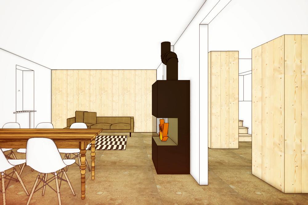 Umbau 30er Jahre Reihenhaus Zürich Wipkingen, Entwurfszeichnung Wohnzimmer  Esszimmer Mit Küchen /Garderobenkubus Und