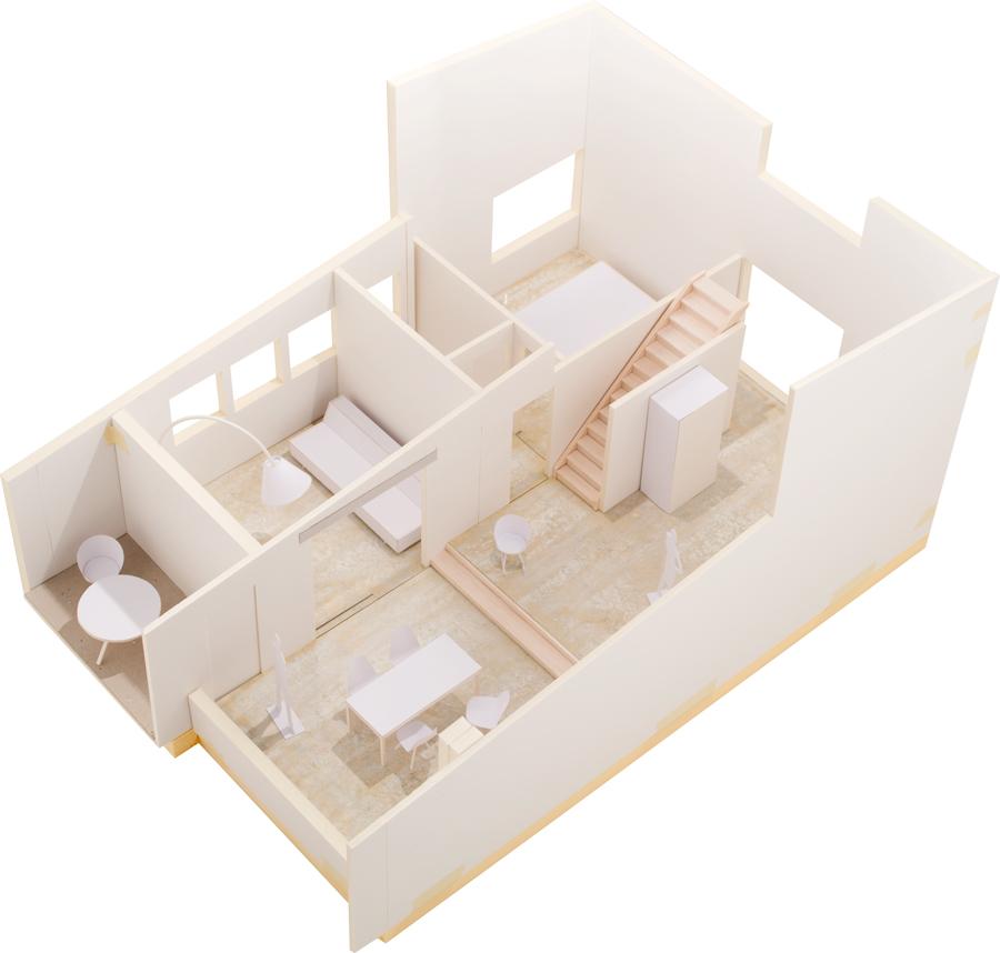 Umbau 50er Jahre Doppelhaushälfte Wollishofen, Inventarobjekt Denkmalpflege. Modellfoto Arbeitsmodell. nijo architekten Zürich, Nina und Johannes Wick