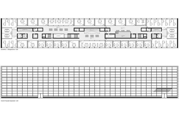Grundriss Ansicht mit Doppelfassade