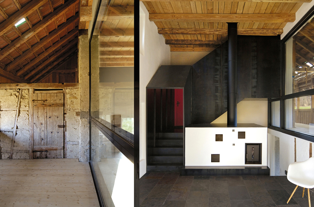 Umbau, Ausbau und Erweiterung der alten Scheune und ehemaligen Werkstatt. Der offene Laubengang im ersten Obergeschoss ermöglicht durch die grosse Verglasung Einblicke in den überhohen zweigeschossigen Wohnraum mit Holzbalkendecke und neuer Treppe.