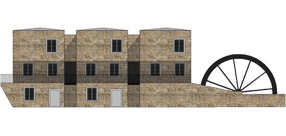 Wohnturm Ansicht. Die drei Wohntürme sind ein Ersatzneubau anstelle eines alten Schuppens. Das Wasserrad ist ein originales historisches Teil und steht unter Denkmalschutz.